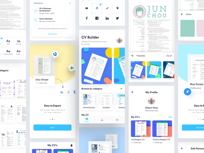 EZY - CV Builder App editor easy cv maker cover letter resume cv template cv maker builder apply job app case study cv app android ios app luova studio ux design ui template editor cv editor