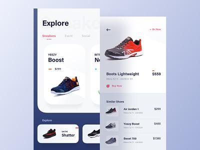 Sneakers App ecommerce app android sneaker nike shoe adidas shop colorful sneakers app dailyui ios app ux luova studio design ui