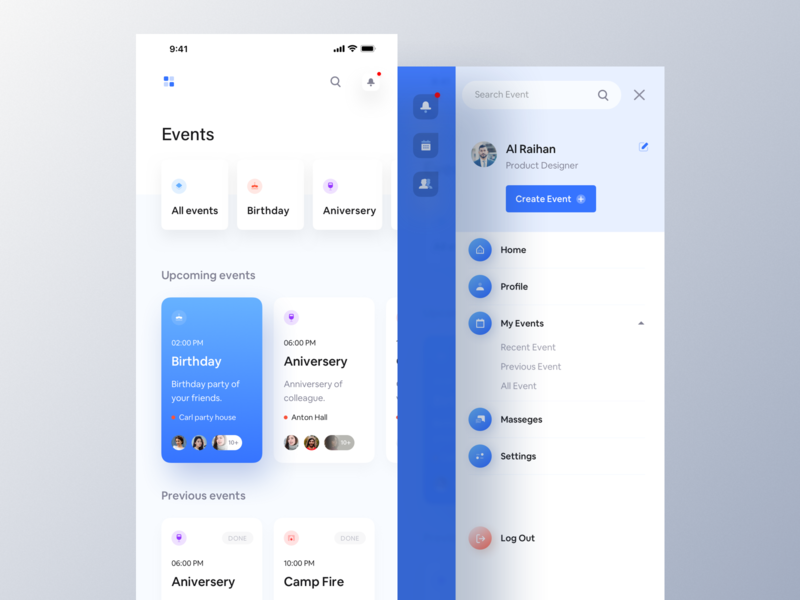 Party House - Event App. house party glossy animated icon phone email social invite event agency event app iphonex typography ios app luova studio ux design ui