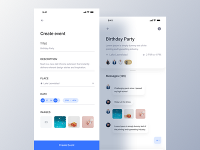 Party House - Event App. ui design ux luova studio app ios typography iphonex event app event agency invite social email phone icon animated glossy party house