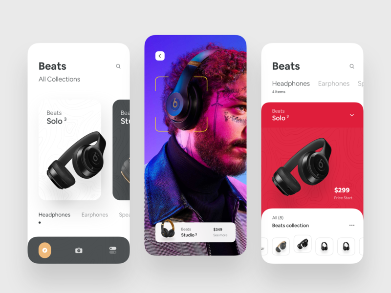 AR Concept app for Beats ui design ux luova studio app ios typography ar augmented reality concept app beats headphone studio3 solo3 shopping app ar app animation app animation ar animate