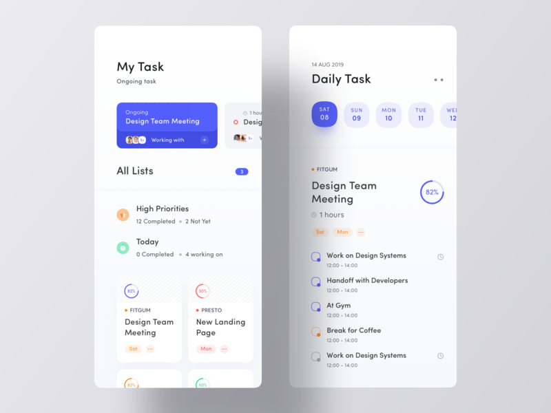 Your Next Task Manager App UI ueno luova studio app concept simple app clean app design minimal app design daily task my task todo app todoist to do todo job app ui task