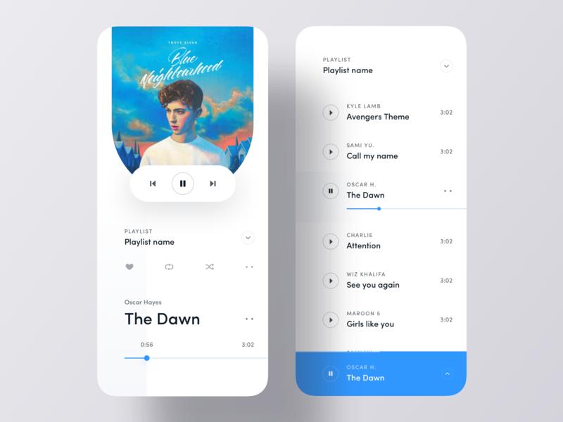 Minimal Music Player iOS App Concept ios music ios app design luova studio ui kit playlist music song app design music player app ui