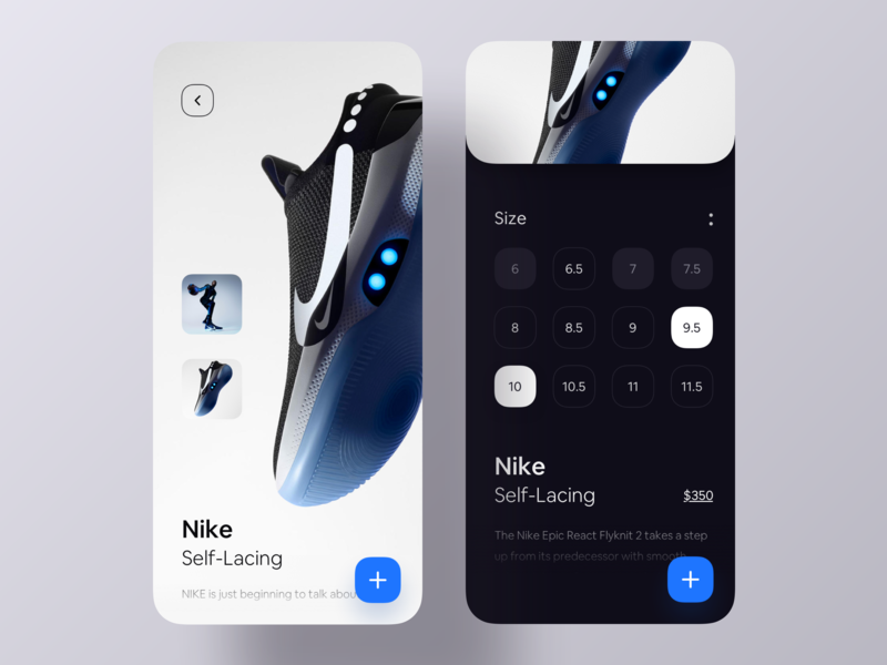 Nike Self Lacing Ios App luova studio app ui ios app size stockx nike shoe e-commerce app e-commerce shop