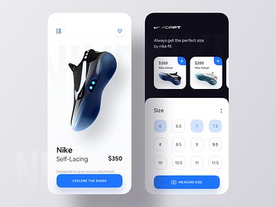 Nike Measure App Concept product app e-comerce buy sell shop augmentedreality ios app measure sneakers shoe nike