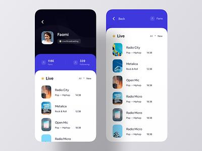 Live Broadcasting iOS App Concept broadcast live ios 133 ios design ui design app ui mobile app app design ios app live streaming