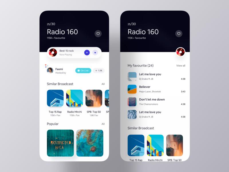 Profile - Radio Playlist inspiration app design inspiration mobile app design app design app ui ios app play list song playlist profile player music radio