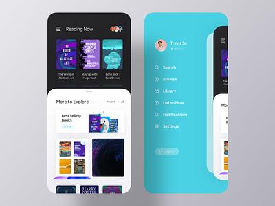 E-Book List & Navigation inspiration app ui design app navigation app manu pdf reading list book store tab bar menu navigation list read store boox