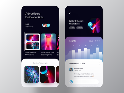 Video Broadcast iOS 13 App Design mobile app design app ui luova studio app designer broadcasting streaming video app inspiration ui inspiration ui design ios app ios 13 app design