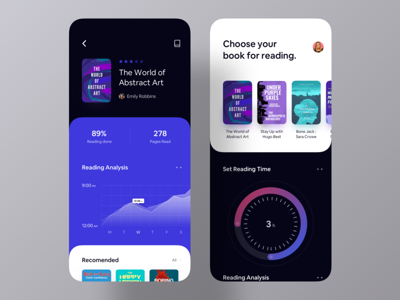 Book Analysis App UI list set time reading time design agency mobile app design design inspiration ui inspiration app inspiration ui design app ui ios app book store