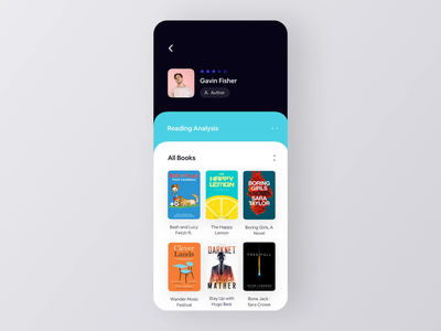Author Analytics App Screen UI Interaction ios app design reading e-book profile author book concept ui mobile app ui ui animation animation interaction design interaction ui