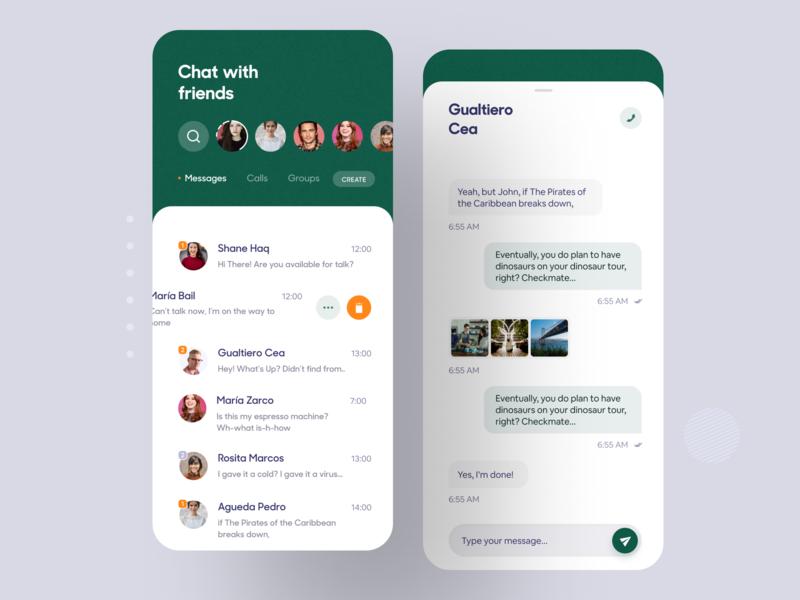 Message App luova studio type send chating mobile app ui ui design app ui app design ios app friends imessage text chat conversation message
