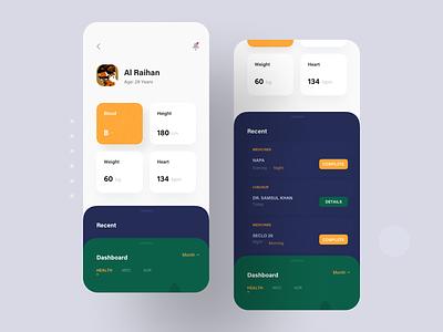 Medical iOS App Concept menu card recent dashboard app ui ios app app medical