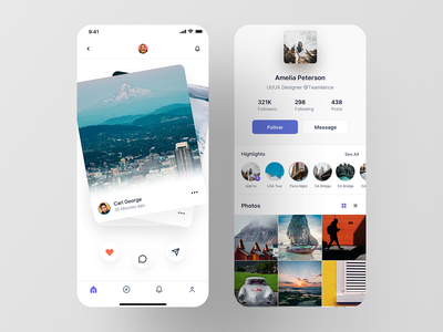 Social App social media feed profile swipe card ui luova studio ios app social