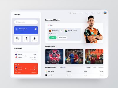 Live Sports Web App cricket match game live sports live ui sports