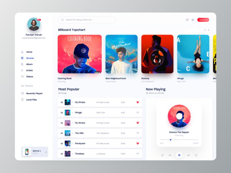 Music Player Web App UI playlist player web application design label artist spotify apple music design inspiration web app design music player