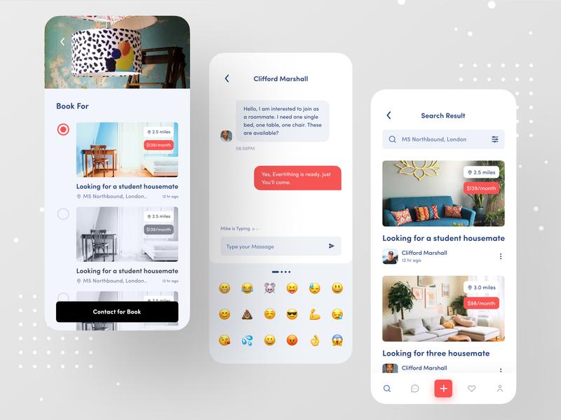 Flatmate Finder App design ux dribbble best shot ios app booking app booking real estate branding real estate agency realestateagent real estate agent realestate real estate logo real estate rent app flatmate ofspace