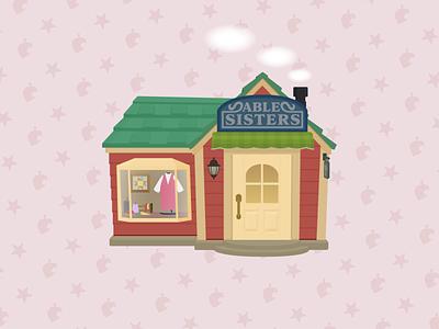 Able Sisters video games vector tom nook simple nintendo switch nintendo illustrator flat design flat digital clean building animal crossing