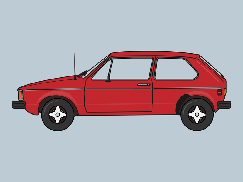 '84 VW Rabbit vector illustration design flat 80s illustrator digital icon clean simple car icon car rabbit