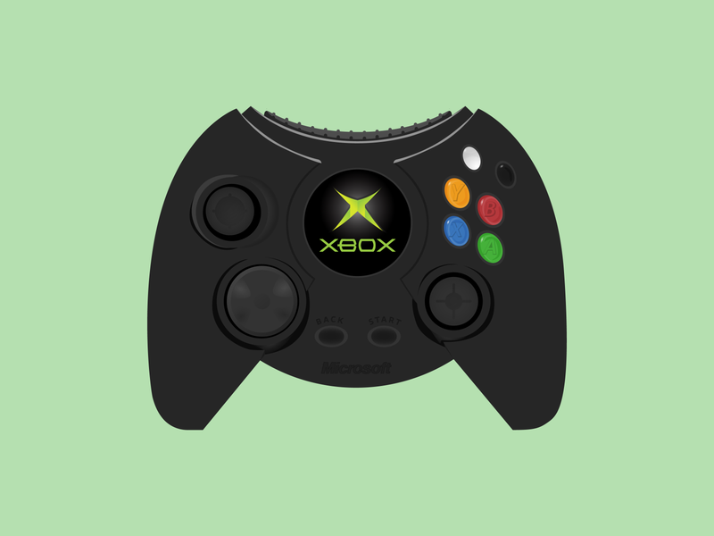 XBox Duke Controller flat digital clean simple illustrator vector game controller controller duke 2000s microsoft video games duke controller xbox