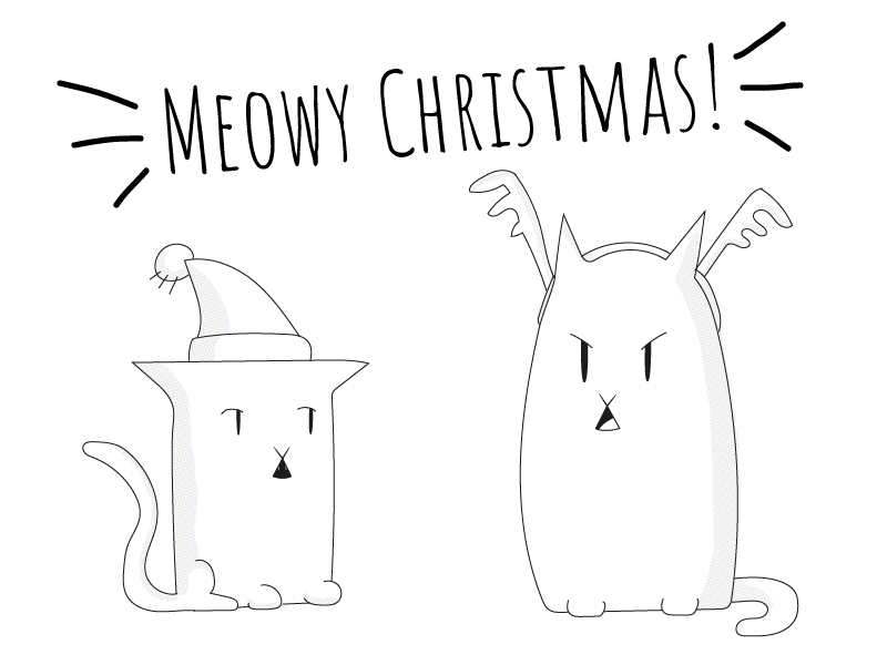 Christmas Cats line art rough doodle sketch illustrator illustration cats holidays christmas black and white simple