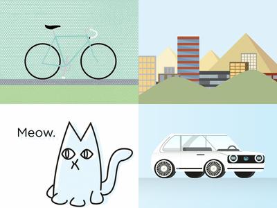 2018 Year in Review simple bike landscape cat car vector illustrator digital illustration 2018