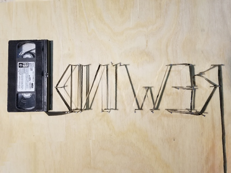 Rewind 📼 3-d physical shadows vhs tape vhs wood string art typography 3d