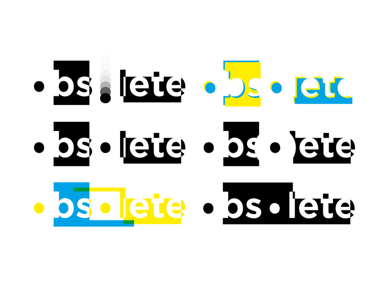 Obsolete experimentation word as form word art illustrator vector overprinting negative space typography