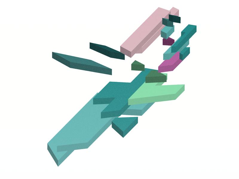Tetronomous design digital grainy grain tetris blocks isometric 3d vector 3d vector illustrator