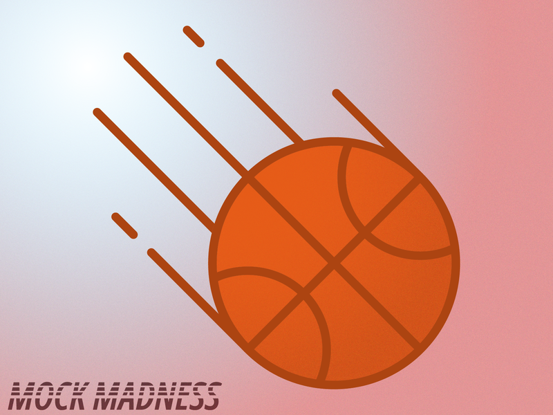 Mock Madness Basketball dribbble ball typography vector simple gradient grain illustration basketball icon