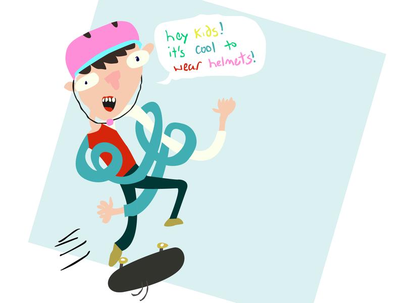 Skater Dude pastel drawing illustrator sketch simple colorful vector digital illustration