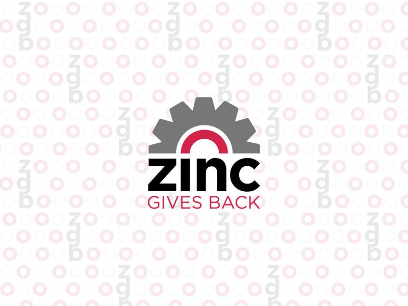 ZINC Gives Back Logo digital simple work communications identity pattern vector logo branding logo design