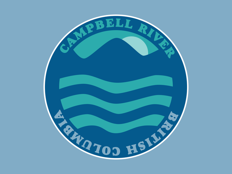 Campbell River Sticker dribbbleweeklywarmup digital simple vector illustrator campbell river hometown two colors two color sticker weekly warm-up