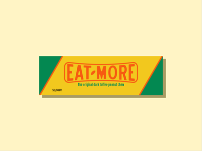 Eat-More Redesign experiment practice clean simple vector illustrator mock-up chocolate bar packaging redesign candy chocolate dribbbleweeklywarmup