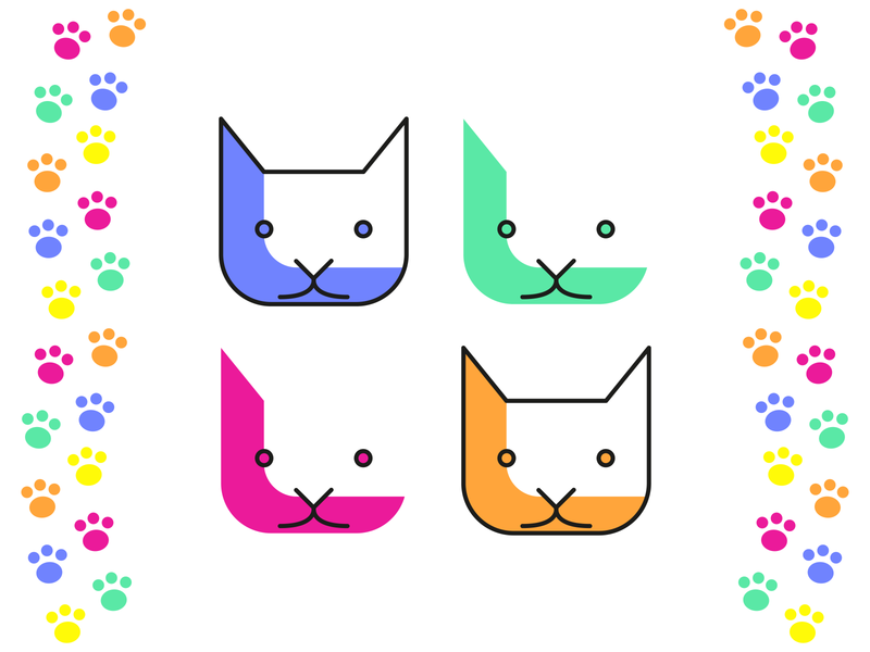 Cats! clean rough logo simple vector cat icon illustrator round soft friendly primary pastel illustration dribbbleweeklywarmup