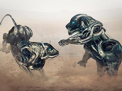 Investment Robots - Battle of the Championship area fight battle design illustration finance financial market stock bear bull stock business finance