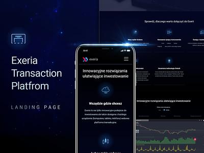 Exeria Transaction Platform Landing Page adobe xd crypto technology dark exeria investing finance landing page
