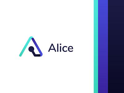 Alice - BMS system logo modern smart app application brand logo ingelligent bms