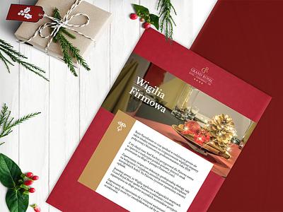 Christmas Eve Brochure for Grand Royal Hotel christmas flyer elegant red hotel brochure christmas
