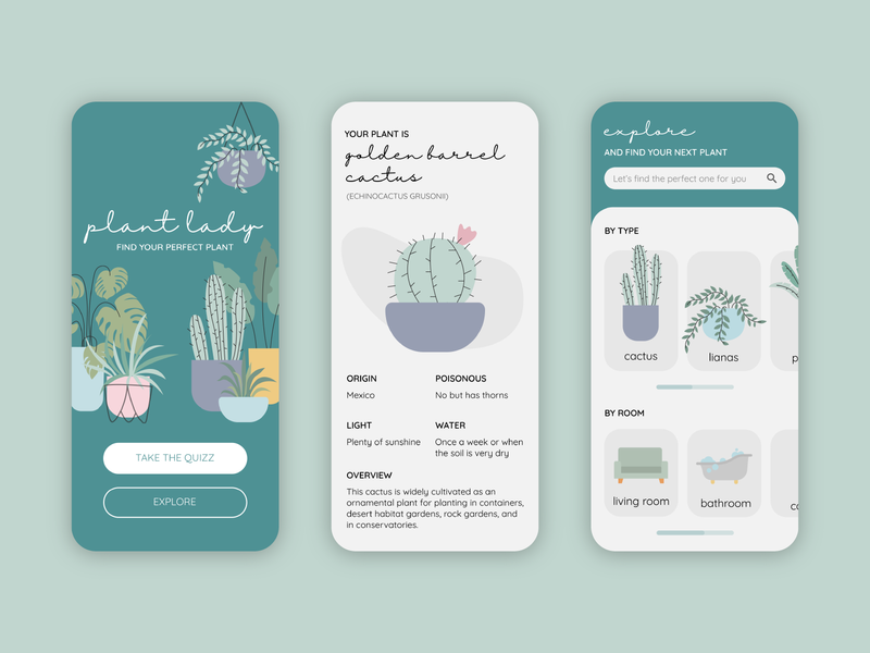 Plant Lady App flat illustration app plant plant illustration plants flat design illustrator art illustration ui