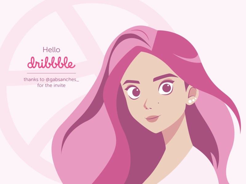 Hello Dribbble design vector first post hello dribbble girl woman pink flat  design flat art illustrator art illustrator cc illustration