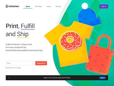 Inklocker Landing Page leaves bag hat t-shirt dtg ui web