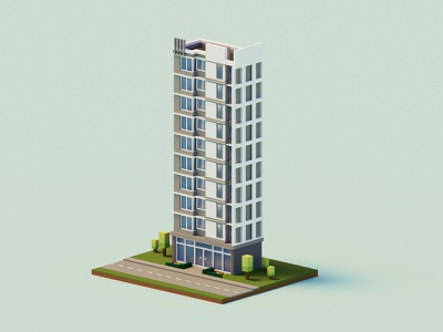 Bank Building architecture building render isometric low poly art magicavoxel voxel 3d
