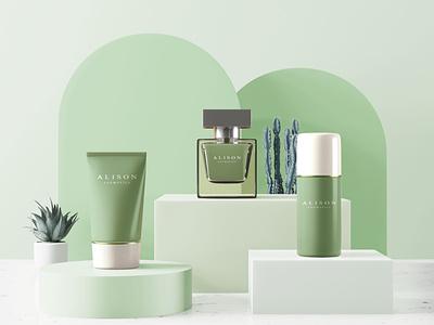 Alison Cosmetics logocore ux vector ui clean minimal colorcombination branding illustration design logo