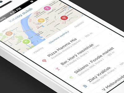 Upcoming app [WIP] iphone white ux ui map mobile ios design app list side menu the funtasty