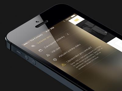 Menu WIP iphone dark ux ios7 ui mobile ios design app side menu the funtasty