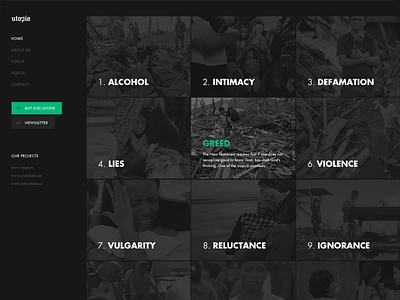 Utopia website WIP web ux ui the funtasty dark website green
