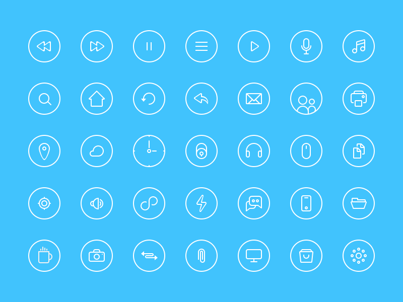 Thin Rounded Icons thin icons rounded ui blue circle retina small