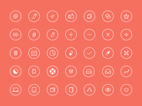 Thin Rounded Icons 2 icons thin ios7 red circle simple white freebie psd