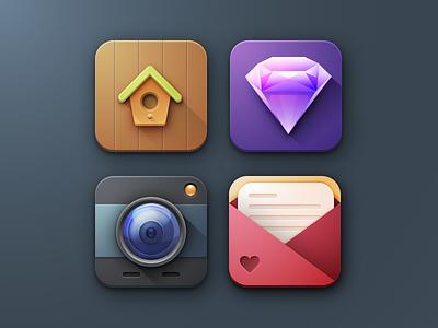 Sketch icon set sketch icons 3d colorful mail camera birdhouse diamond